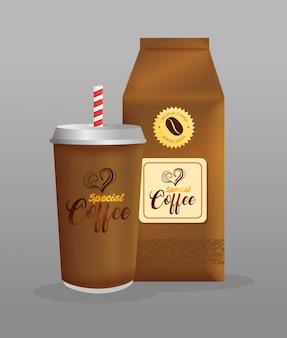 Mockup di branding caffetteria, ristorante, mockup di identità aziendale, caffè speciale usa e getta e in busta