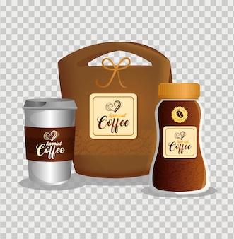 Mockup di branding impostato per caffetteria, ristorante, mockup di identità aziendale, pacchetti di caffè speciali