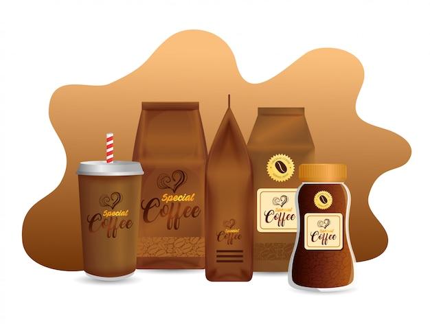 Mockup di branding impostato per caffetteria, ristorante, mockup di identità aziendale, set di pacchetti speciali per caffè