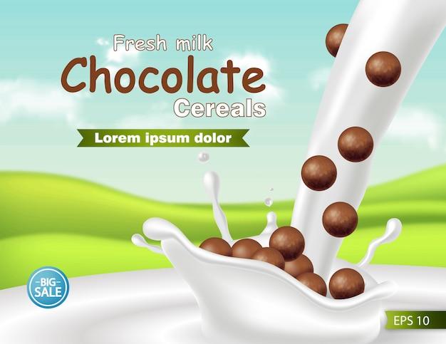Mockup di cereali al cioccolato nel latte splash realistico