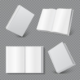 Mockup di copertina del libro. copertina opuscolo bianco realistico, superficie opuscolo bianco, rivista tascabile vuota