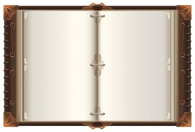 Mockup di diffusione del vecchio libro aperto dell'annata con pagine bianche