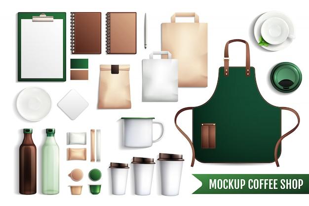 Mockup di elementi di caffetteria