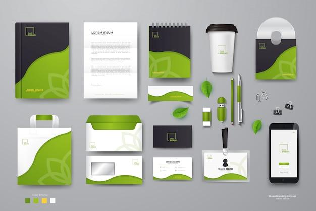 Mockup di identità aziendale verde