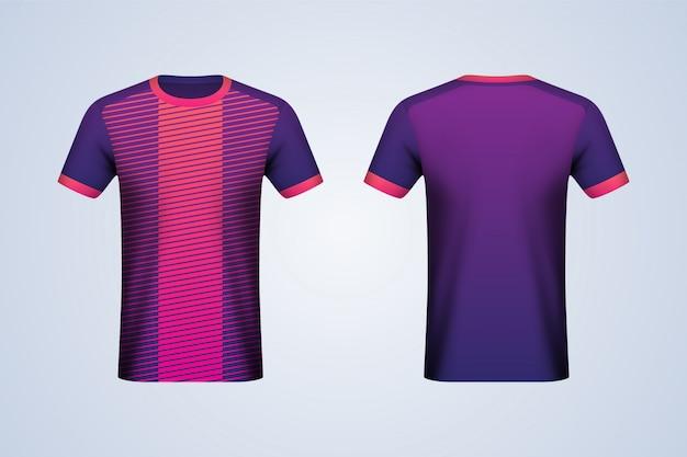 Mockup di jersey viola e strisce davanti e dietro