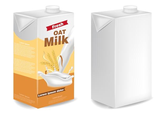 Mockup di pacchetti di latte d'avena