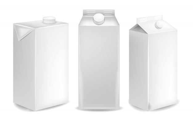 Mockup di pacchetti di latte in bianco
