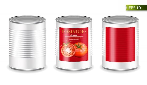 Mockup di pomodori metallici in scatola
