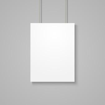 Mockup di poster bianco sul muro grigio