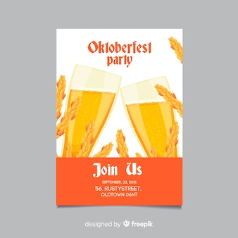 Mockup di poster di oktoberfest in design piatto