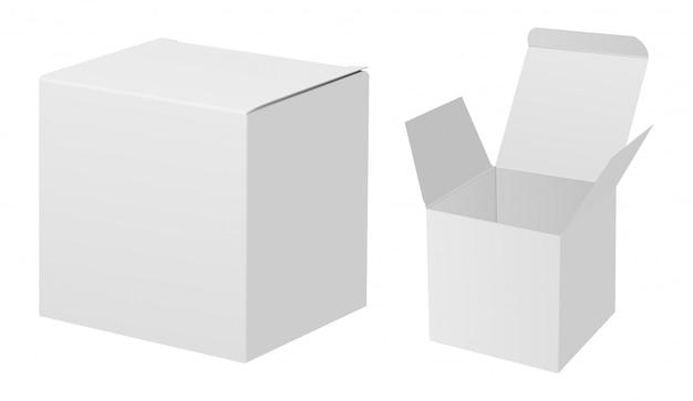 Mockup di scatola bianca. insieme del pacchetto del cartone di rettangolo 3d