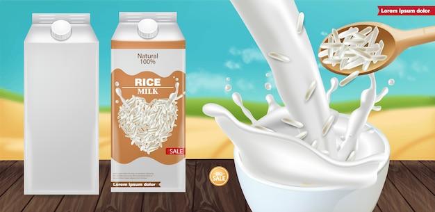 Mockup di schizzi di latte di riso