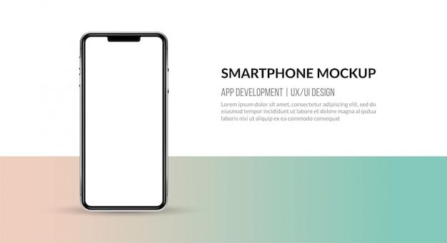 Mockup di smartphone con schermo vuoto, modello per lo sviluppo di app e ux / ui design