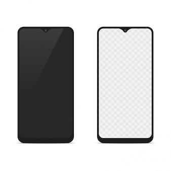 Mockup di smartphone realistico con fronte e retro. vettore