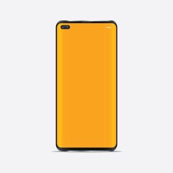 Mockup di smartphone realistico. telaio del cellulare con display vuoto isolato