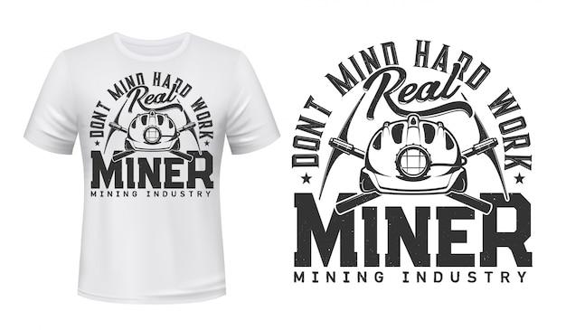 Mockup di t-shirt con stampa minatore, industria carboniera