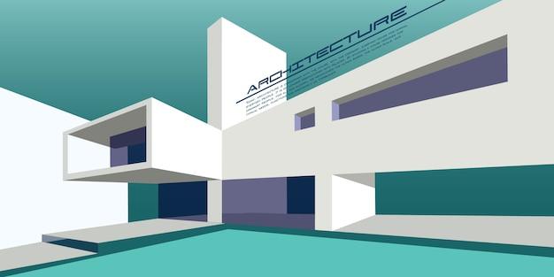 Mockup di vettore di architettura contemporanea per una pagina di destinazione layout o design opuscolo pubblicitario o volantino