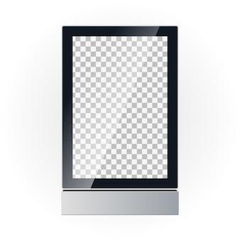 Mockup di vettore di un display di bordo di pubblicità. pubblicità esterna. scatola leggera.