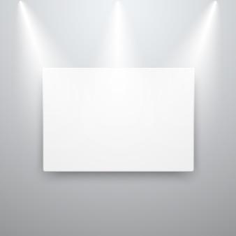 Mockup di visualizzazione su tela sul muro vuoto con luci spot