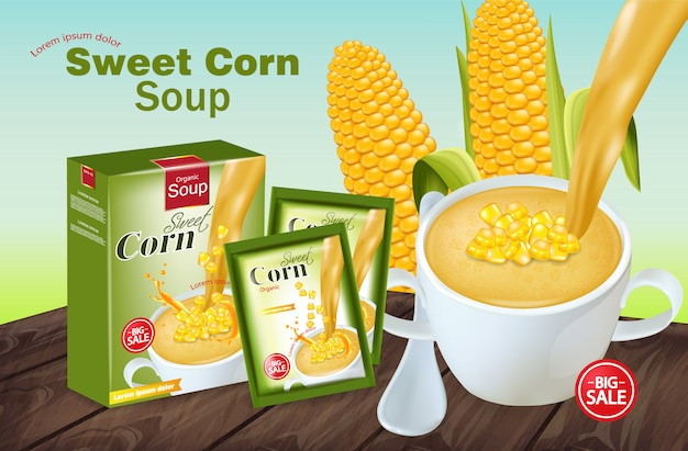 Mockup di zuppa di mais dolce