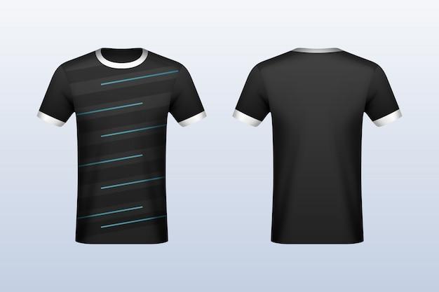 Mockup in jersey nero con strisce blu davanti e dietro