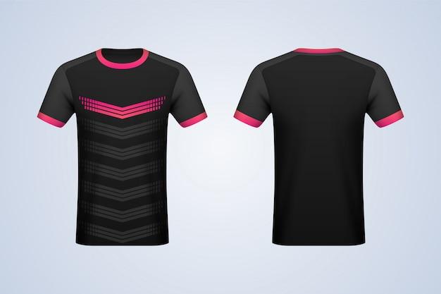 Mockup in jersey nero con strisce davanti e dietro