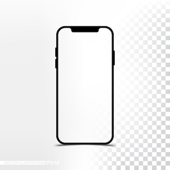 Mockup nuova versione smartphone con schermo trasparente e sfondo