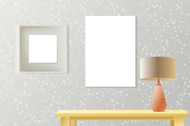 Mockup realistico camera interna con poster carta sul muro
