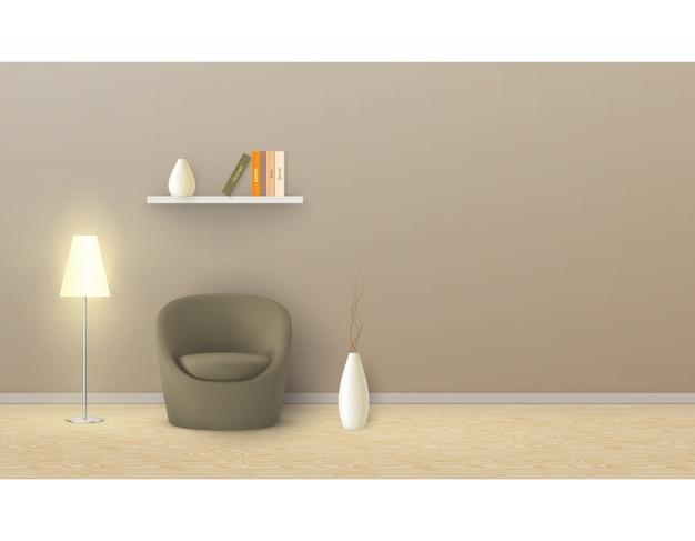 Mockup realistico di stanza vuota con parete beige, poltrona morbida, lampada da terra, mensola con libri.