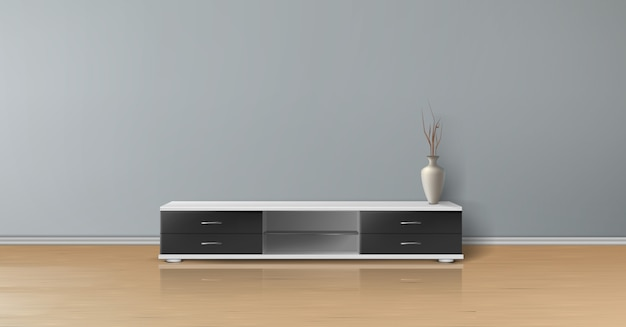 Mockup realistico di stanza vuota con parete grigia piatta, pavimento in legno, porta tv con cassetti neri