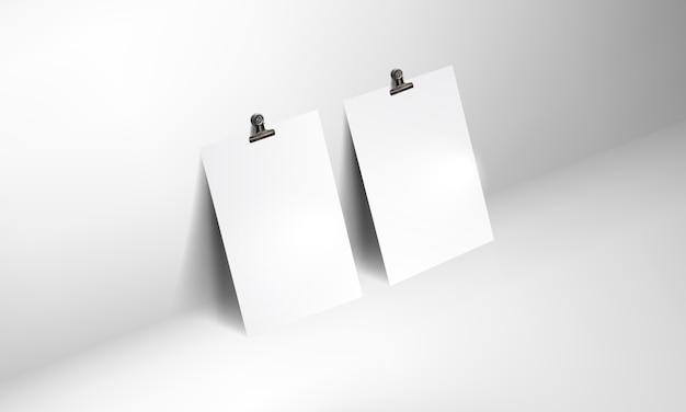 Mockup realistico poster bianco con clip binder