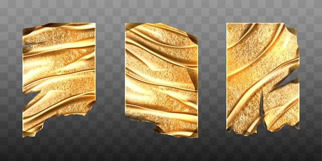 Mockup vettoriale di fogli di lamina d'oro vecchio