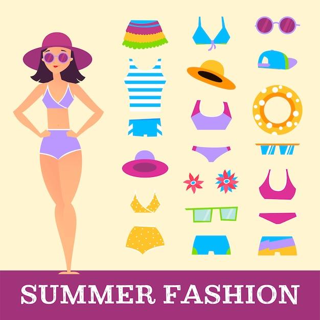 Moda da spiaggia. ragazza e accessori vari per vestiti. stile cartone animato