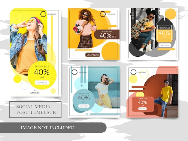Moda di vendita modello di social media post