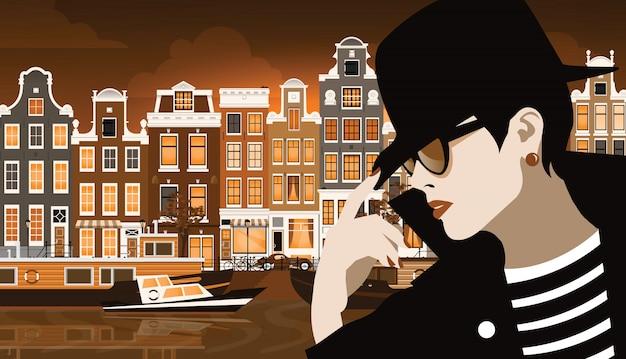 Moda donna in stile pop art. la ragazza per strada di amsterdam.