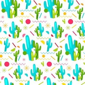 Moda memphis modello senza cuciture luminoso con cactus