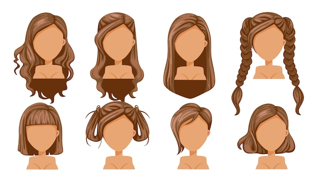Moda moderna di bella donna capelli castani acconciatura per assortimento.