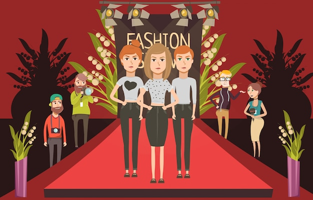 Moda passerella insieme composizione piatta con doodle modelli femminili e personaggi dei fotografi giornalisti