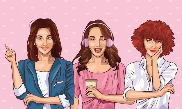 Moda pop art e belle donne dei cartoni animati