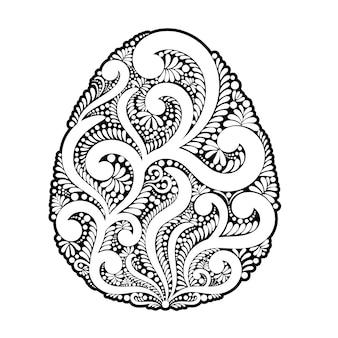 Modella l'uovo di pasqua dei turbinii e degli elementi floreali.