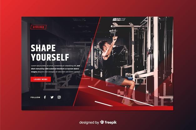 Modella la pagina di destinazione della promozione palestra con l'immagine