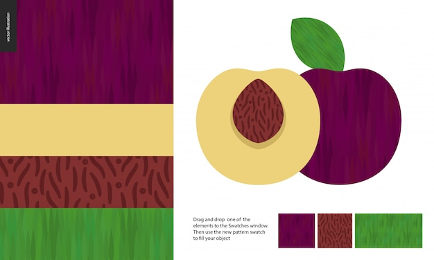 Modelli alimentari, frutta, prugna
