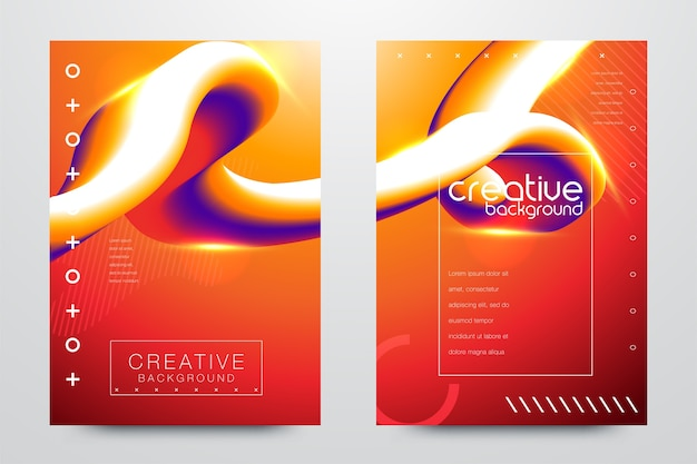 Modelli creativi fluidi astratti, carte, set di copertine di colore