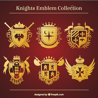 Modelli d'emblema cavaliere d'oro