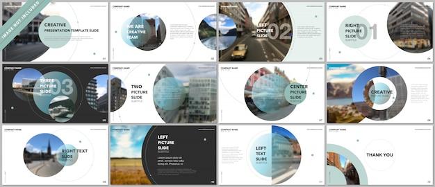 Modelli del portafoglio di presentazioni con gli elementi del cerchio su bianco