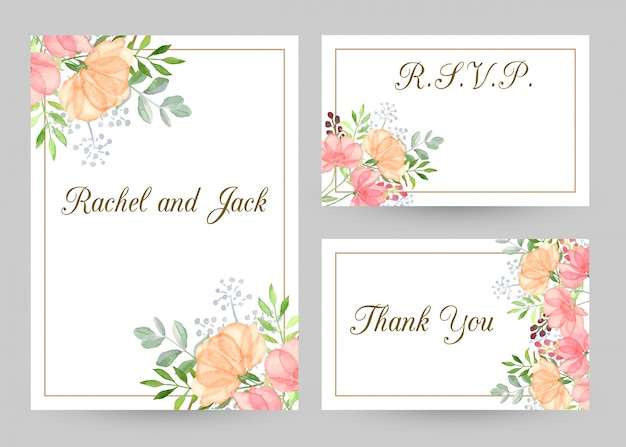 Modelli dell'invito di nozze messi con i fiori dell'acquerello