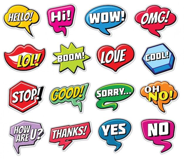 Modelli di adesivi per chat web. bolle di discorso di parole di internet isolate.