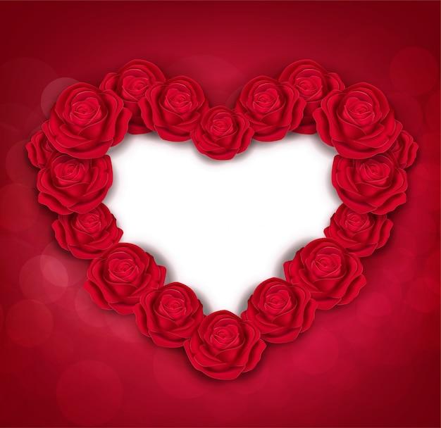 Modelli di auguri di san valentino. rose rosse isolate su fondo rosso