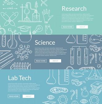 Modelli di banner con elementi scientifici disegnati a mano