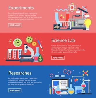 Modelli di banner con icone di scienza di stile piano